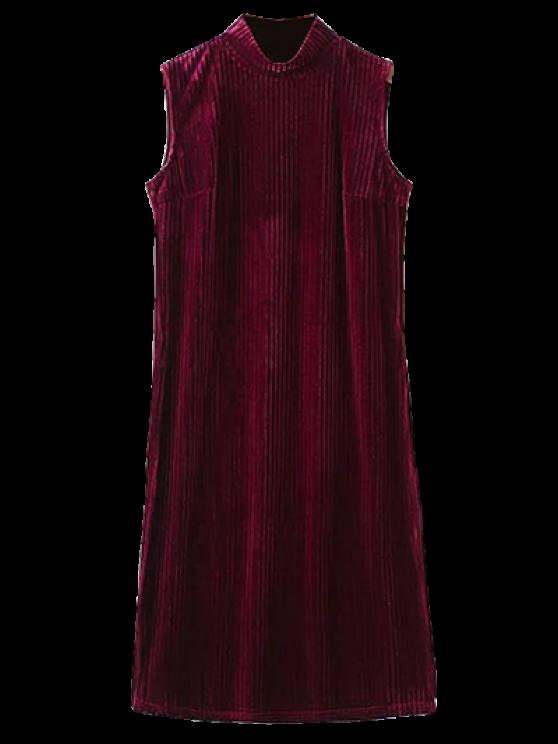 outfit Side Slit High Collar Pleated Velvet Dress - BURGUNDY L