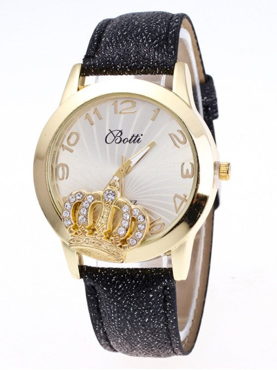 Faux Leather Crown Number Watch - BLACK  Mobile