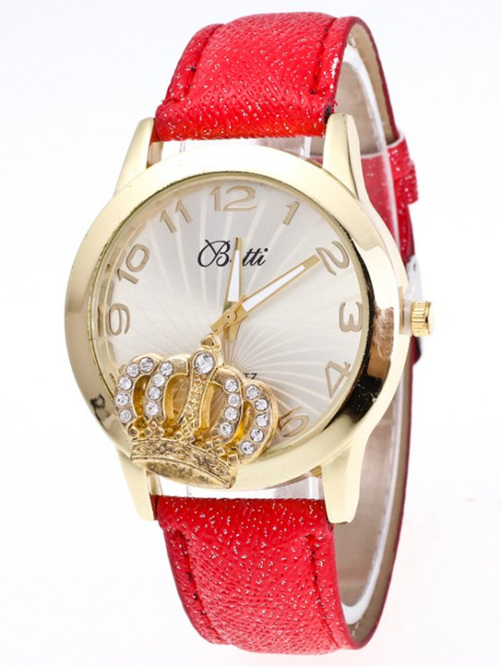 Faux Leather Crown Number Watch - RED  Mobile