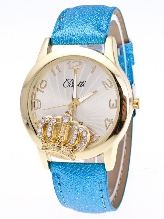 Faux Leather Crown Number Watch - AZURE  Mobile