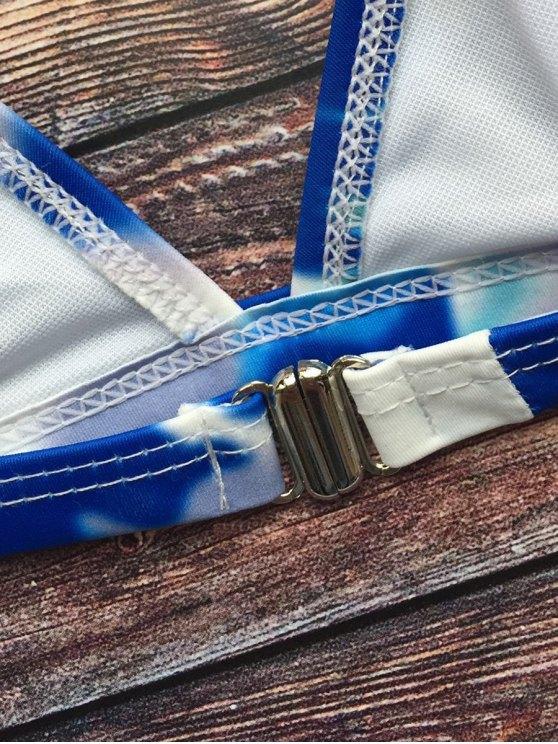 Tie-Dyed Halter Padded Bikini - BLUE M Mobile