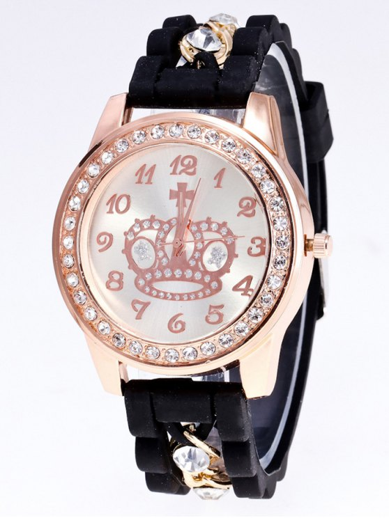 Silicone Rhinestone Crown Number Watch - BLACK  Mobile