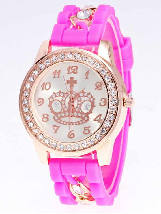 Silicone Rhinestone Crown Number Watch - PINK  Mobile