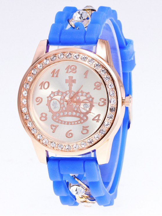 Silicone Rhinestone Crown Number Watch - BLUE  Mobile