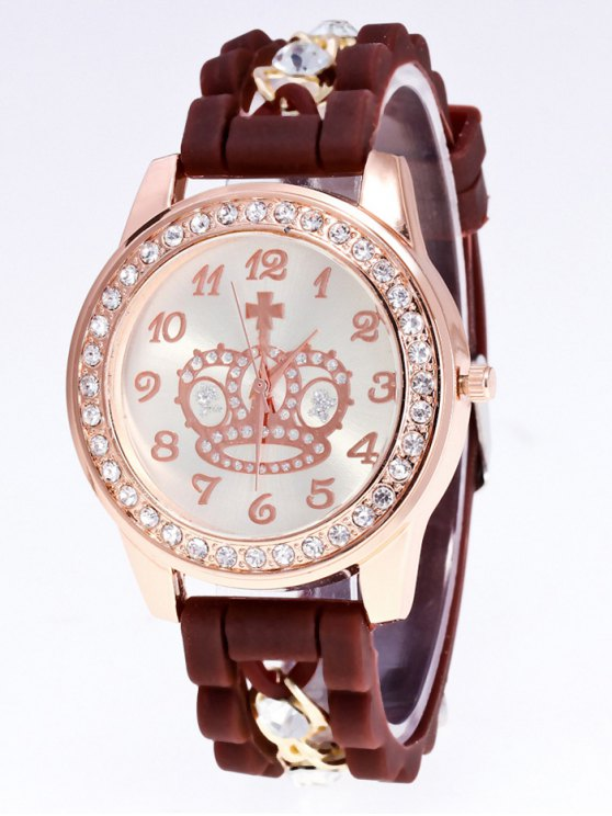 Silicone Rhinestone Crown Number Watch - BROWN  Mobile