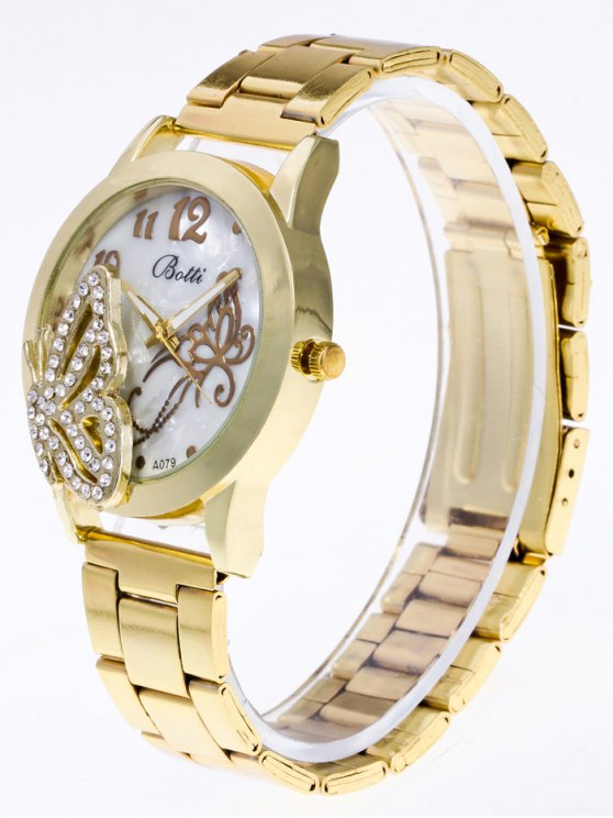 Rhinestone Butterfly Number Watch - GOLDEN  Mobile