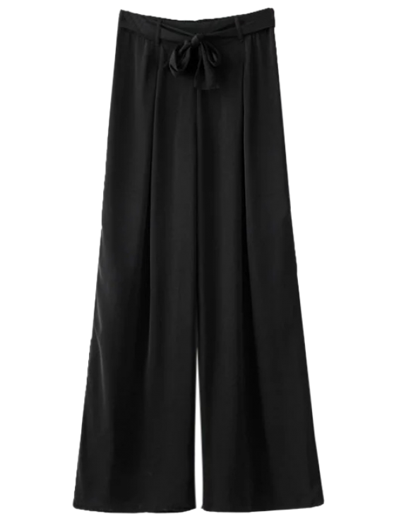 women Belted Culotte Pants - BLACK L