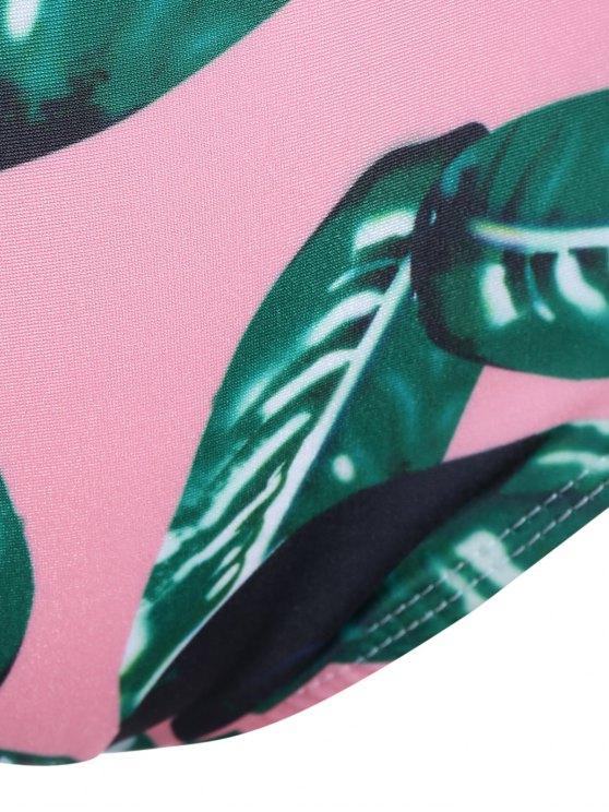 Palm Leaf Striped Off The Shoulder Bikini - MULTICOLOR S Mobile