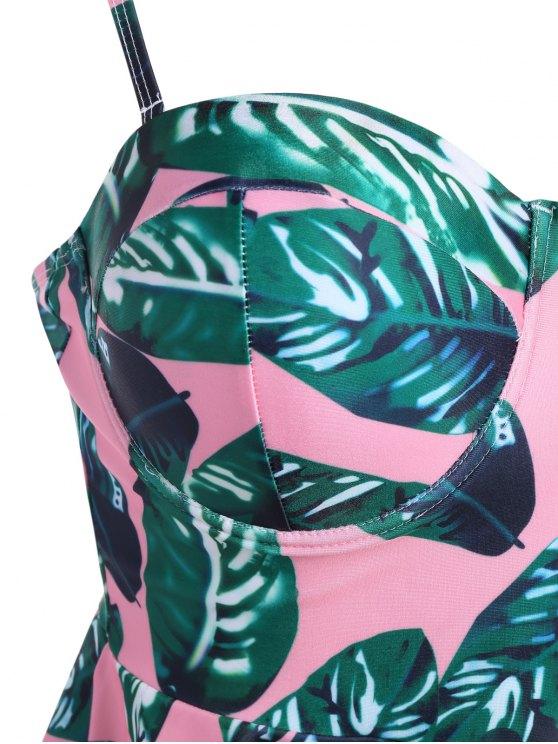 Palm Leaf Underwire Peplum Tankini - PINK + GREEN S Mobile