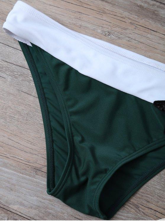 Color Block Sequined Bikini Set - BLACKISH GREEN S Mobile