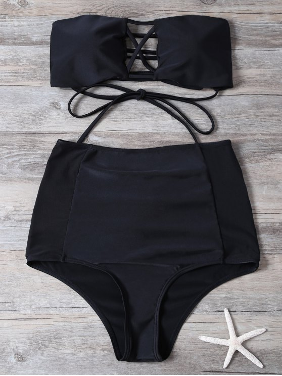 High Waisted Cut Out Swimsuit - BLACK S Mobile