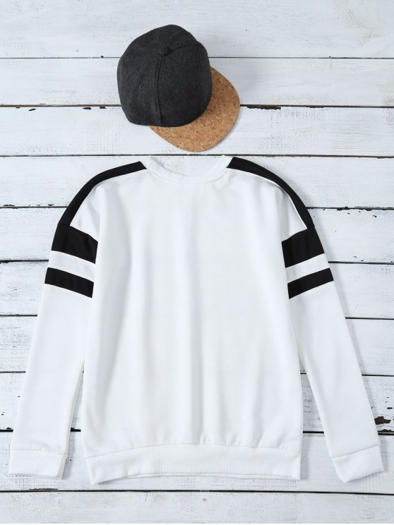 Casual Color Block Sweatshirt - WHITE L Mobile