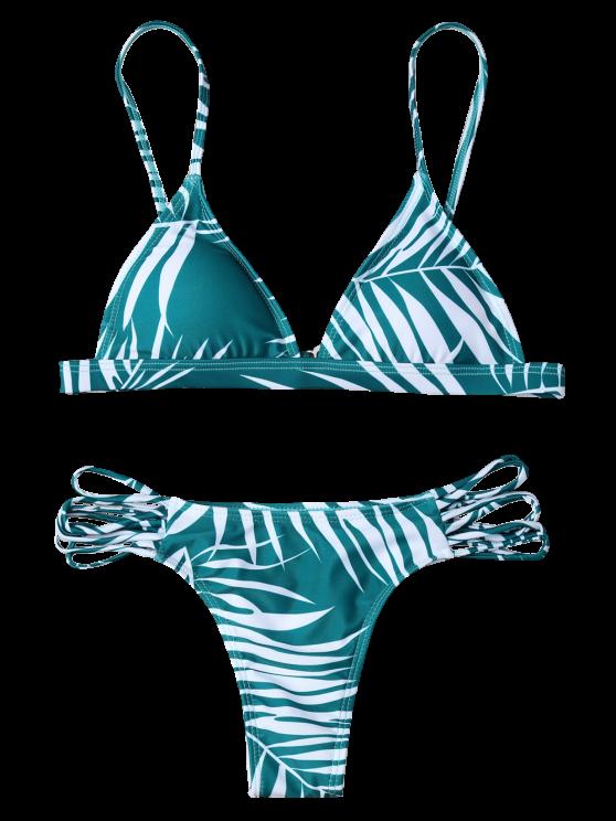 Tropical Print Cutout Bikini Set - GREEN S Mobile