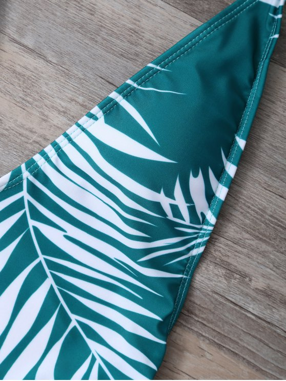 Crosscriss Tropical Print One-Piece Swimwear - GREEN L Mobile