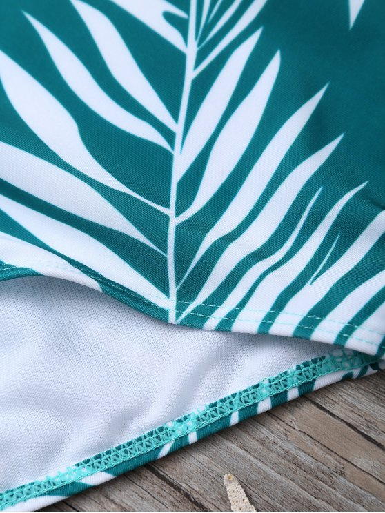 Crosscriss Tropical Print One-Piece Swimwear - GREEN S Mobile