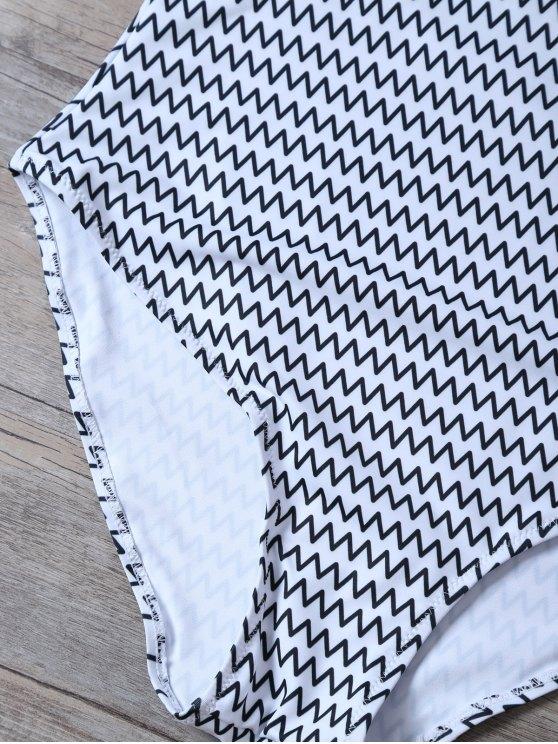 Backless Zig Zag One-Piece Swimwear - WHITE L Mobile