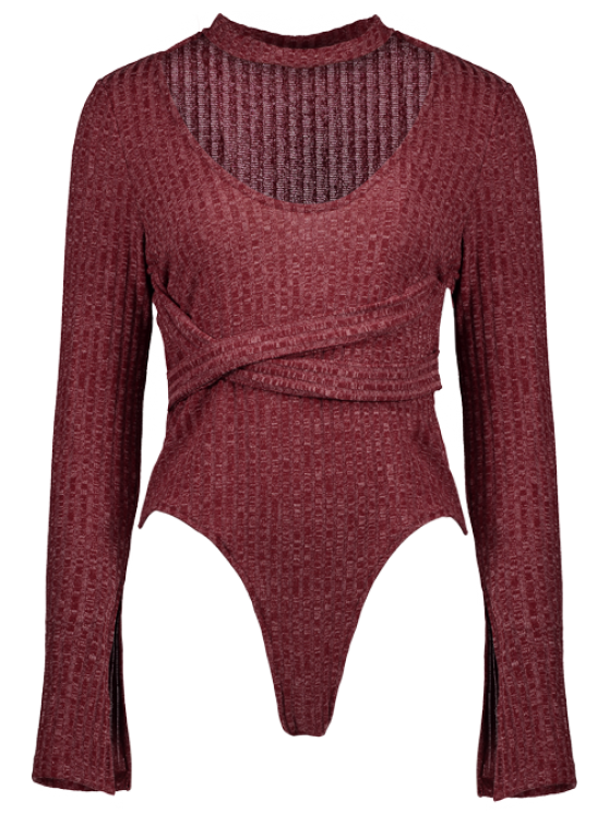 Skinny Choker Long Sleeve Bodysuit - CLARET L Mobile