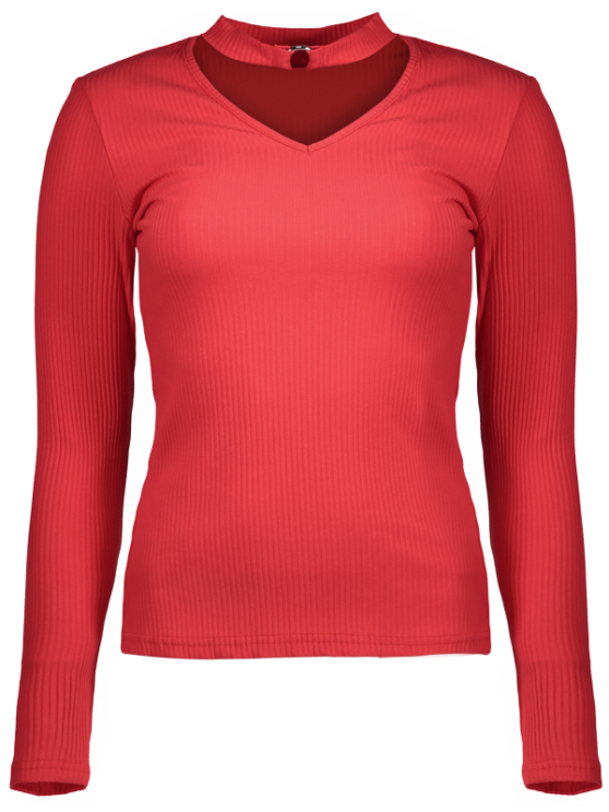 Casual Choker Ribbed Knitwear - RED 2XL Mobile