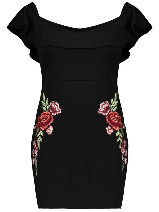 Flounced Floral Bodycon Dress - BLACK L Mobile