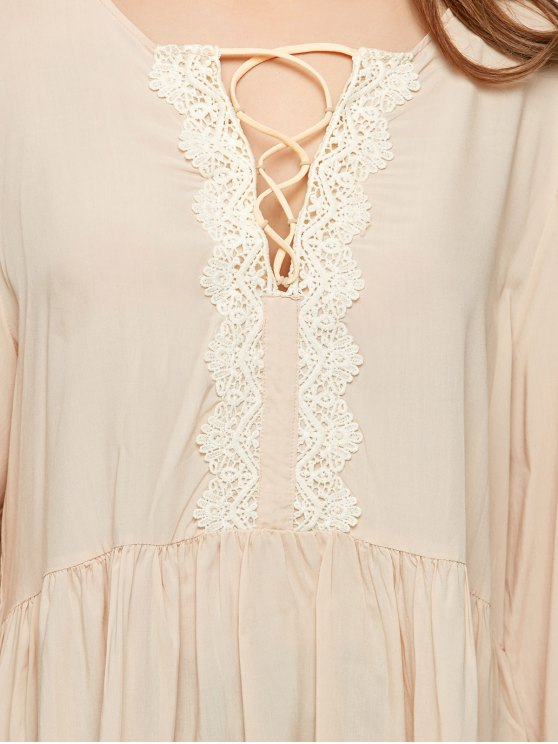 Lace Up Bell Sleeve Trapeze Top - OFF-WHITE M Mobile