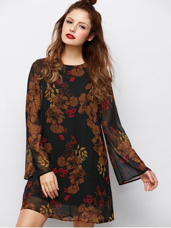 Bell Sleeves Printed Dress - BLACK 2XL Mobile
