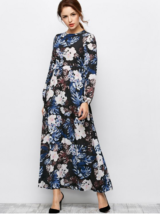 Printed Maxi Dress - BLACK S Mobile