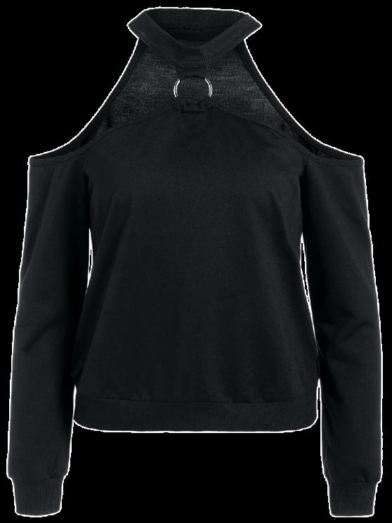 Metal Ring Cold Shoulder Top - BLACK L Mobile