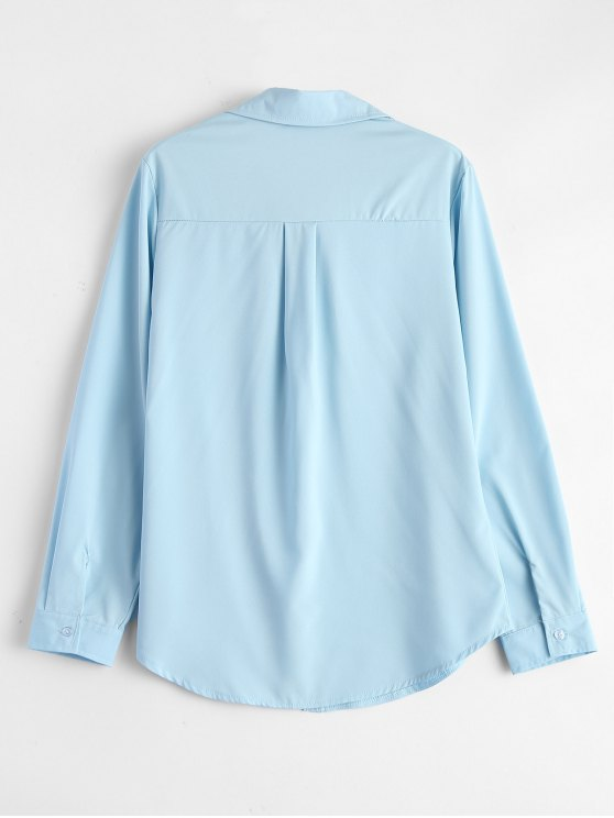 Lace-Up Shirt - LIGHT BLUE S Mobile