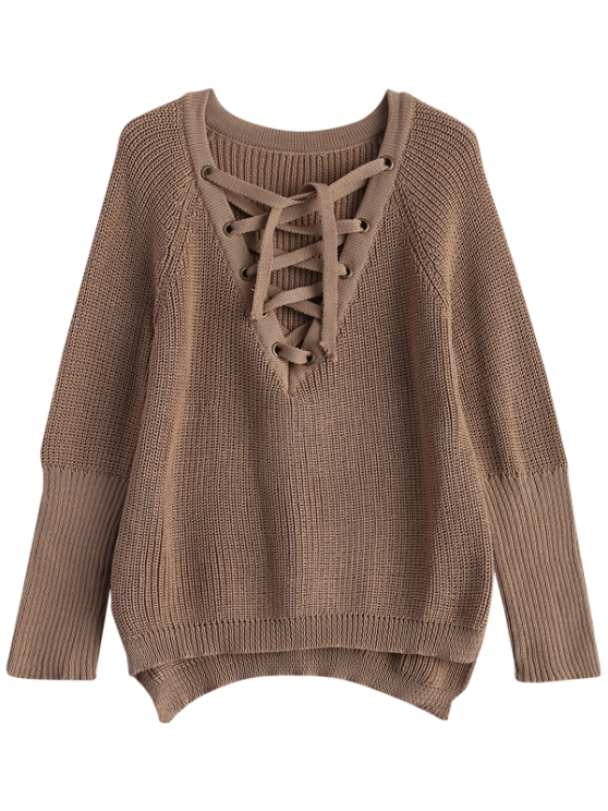 High Low Lace-Up V Neck Sweater - DARK KHAKI M Mobile