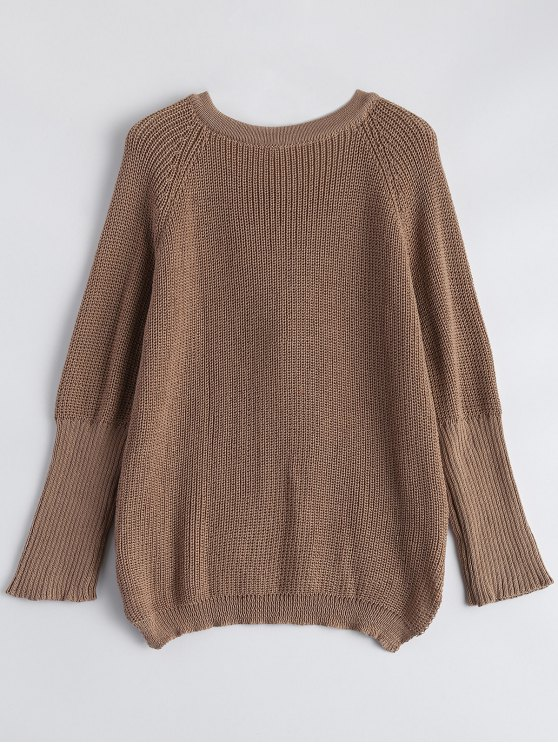 High Low Lace-Up V Neck Sweater - DARK KHAKI L Mobile