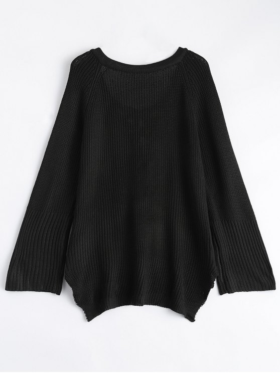 High Low Lace-Up V Neck Sweater - BLACK S Mobile