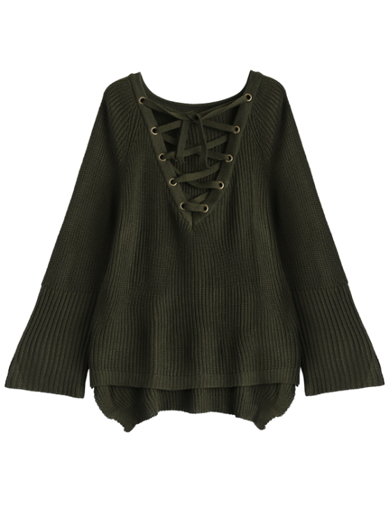 High Low Lace-Up V Neck Sweater - ARMY GREEN L Mobile