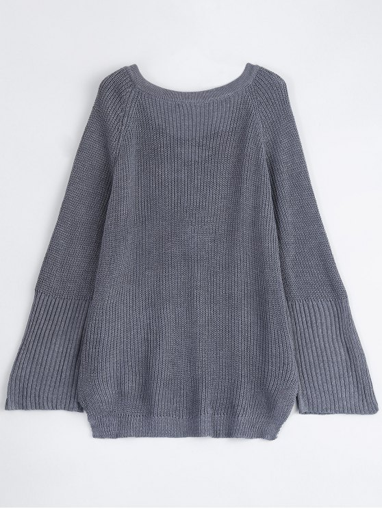 High Low Lace-Up V Neck Sweater - GRAY L Mobile