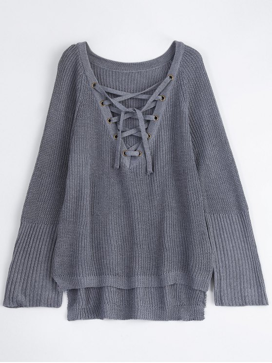 High Low Lace-Up V Neck Sweater - GRAY M Mobile