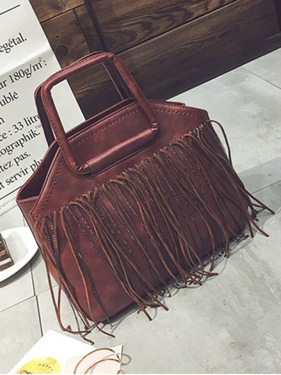 Faux Leather Fringed Handbag - RED  Mobile