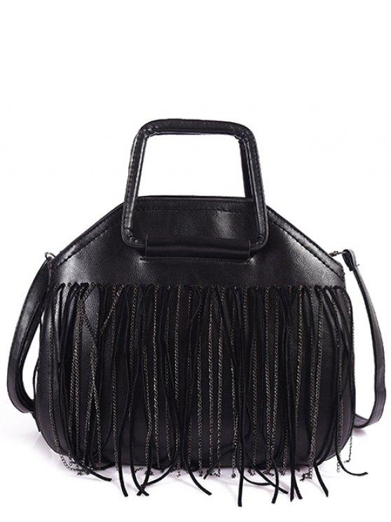Faux Leather Fringed Handbag - BLACK  Mobile