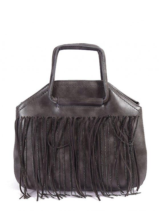 Faux Leather Fringed Handbag - GRAY  Mobile