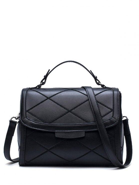 Rhombic Faux Leather Handbag - BLACK  Mobile