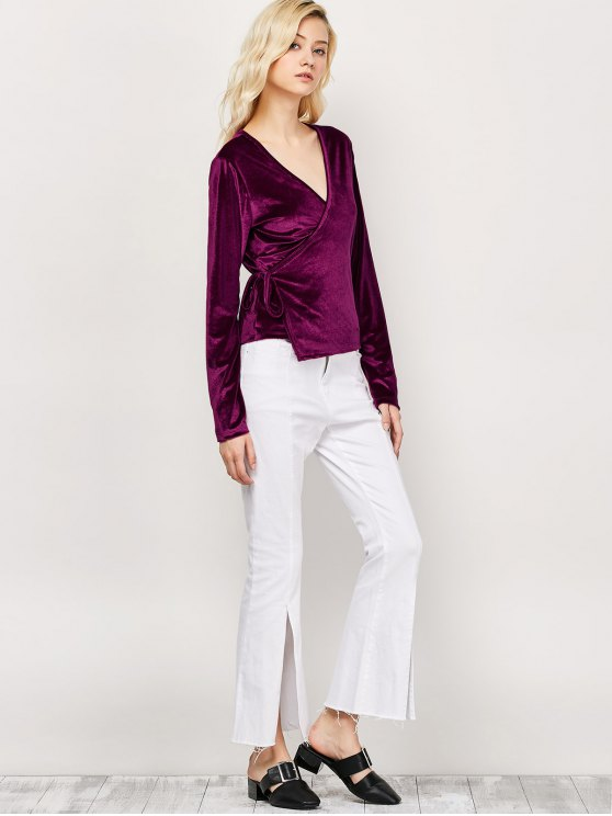 Long Sleeve Velvet Wrap Top - WINE RED M Mobile