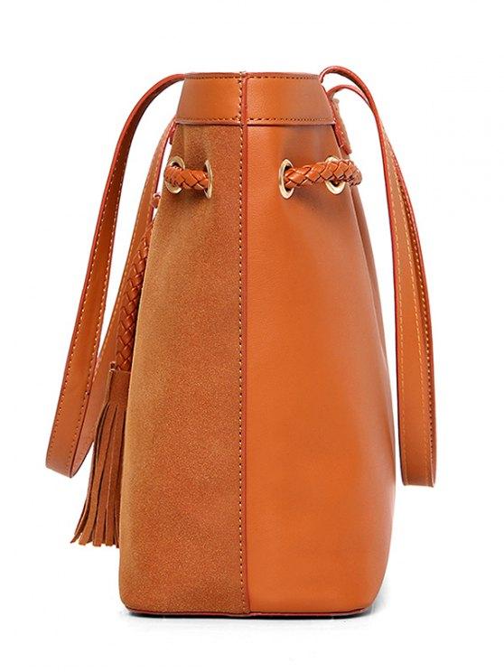 Braided Tassel Suede Panel Shoulder Bag -   Mobile