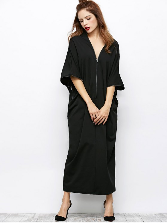 Zippered V Neck Loose Maxi Dress - BLACK XL Mobile