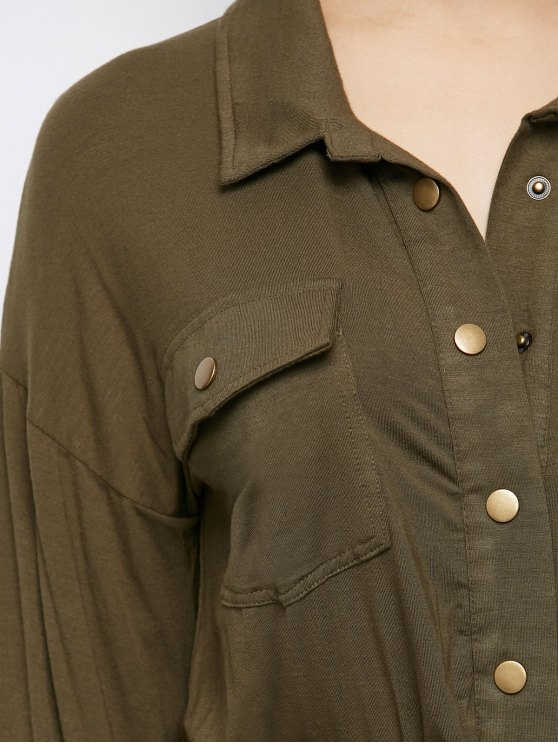 Maxi Single Breasted Military Shirt Dress - ARMY GREEN S Mobile