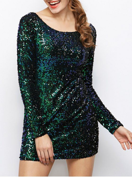 Sequin Sparkly Round Neck Bodycon Dress - GREEN L Mobile