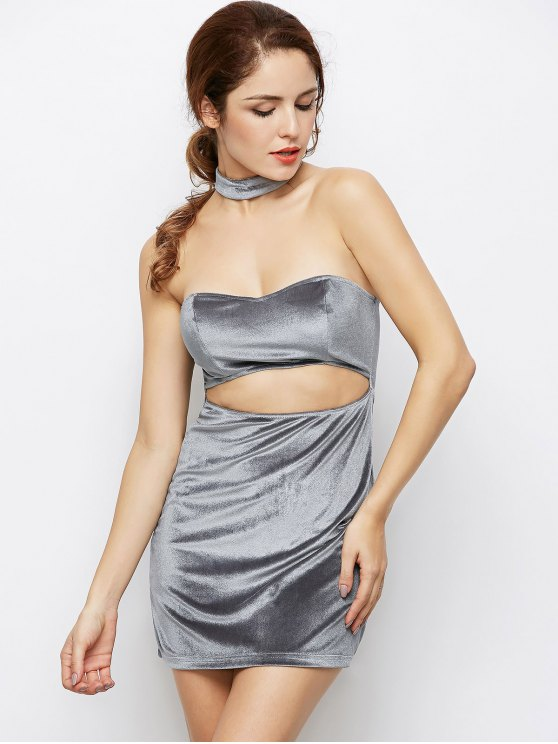 Velvet Cut Out Choker Bodycon Dress - LIGHT GRAY M Mobile