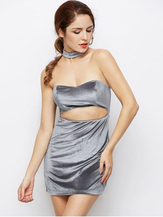 Velvet Cut Out Choker Bodycon Dress - LIGHT GRAY M Mobile