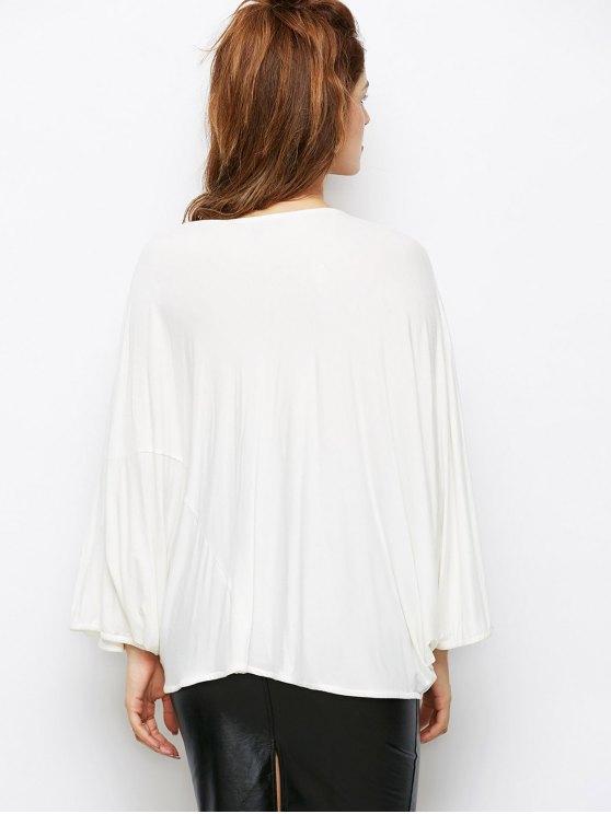 Dolman Sleeve V Neck Loose Blouse - WHITE 2XL Mobile