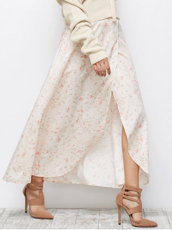 Asymmetrical Floral Skirt - PINK L Mobile