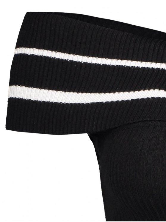 Foldover Off The Shoulder Sweater - BLACK STRIPE ONE SIZE Mobile
