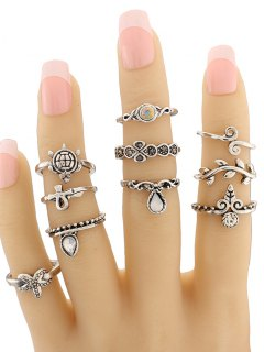 Leaf Tortoise Geometric Jewelry Ring Set - Silver