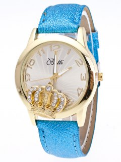 Faux Leather Crown Number Watch - Azure
